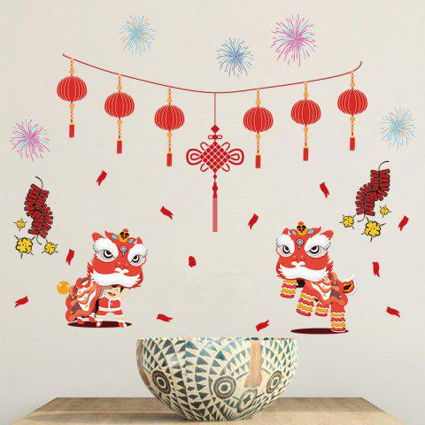 New Year Decoration Wall Sticker - RED 1 SET