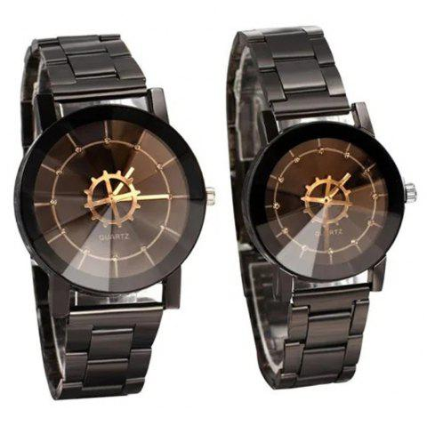 Fashion Leisure Compass Turntable Steel Band Quartz Lovers Watch - multicolor A