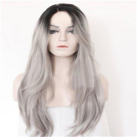 Gray Bleached Long Curly Hair Wig - LIGHT GRAY 28 X 17 X 5CM