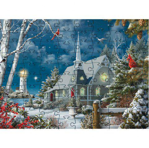 Snow and House 3D Jigsaw Paper Puzzle Block Assembly Birthday Toy - multicolor