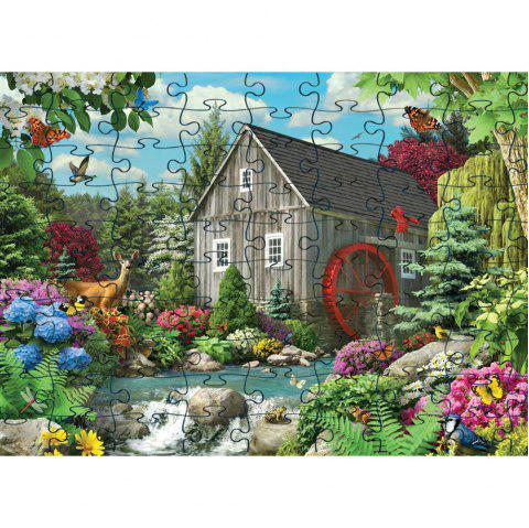 3D Jigsaw Paper House Puzzle Block Assembly Birthday Toy - multicolor