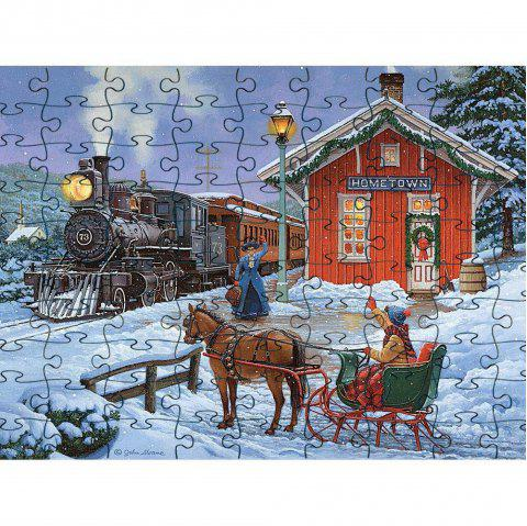3D Jigsaw Paper WInter Snow Puzzle Block Assembly Birthday Toy - multicolor