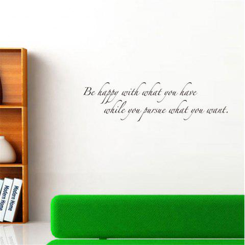 Be Happy with What You Have Art Vinyl Mural Home Room Decor Wall Stickers - BLACK 17.5*57CM