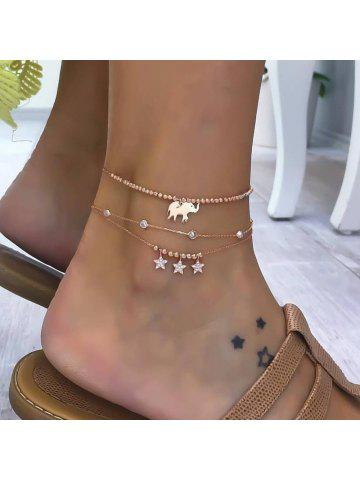 e9c44b22d90 3 Pieces Alloy Elephant Pendant Beads Star Diamond Multi-layered Anklets