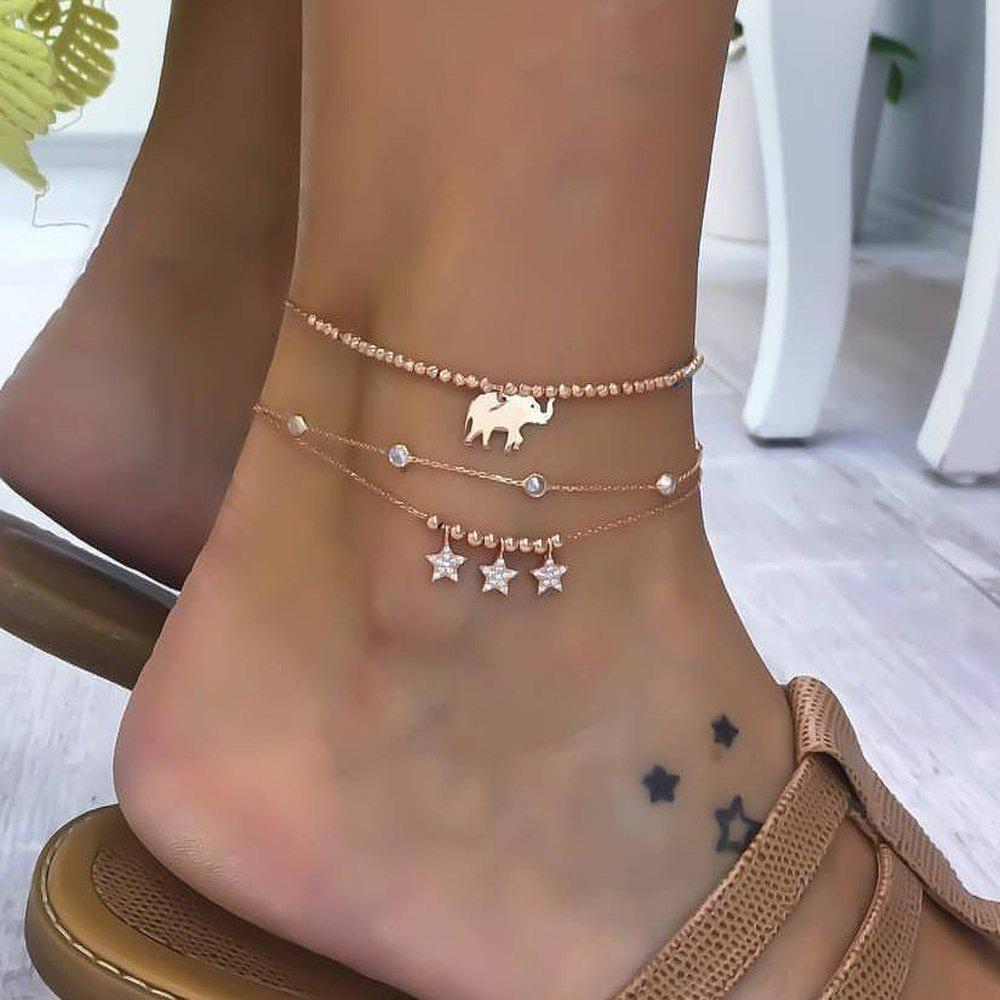 3 Pieces Alloy Elephant Pendant Beads Star Diamond Multi-layered Anklets - SUN YELLOW