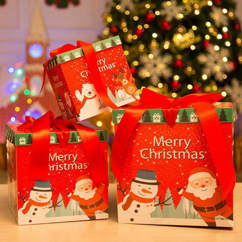 Christmas Paper Gift Box Three-Piece Gift Box Gift Package - multicolor C PACK OF 3