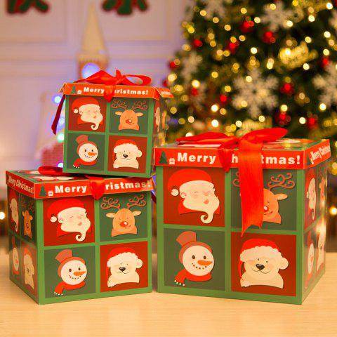 Christmas Paper Gift Box Three-Piece Gift Box Gift Package - multicolor B PACK OF 3