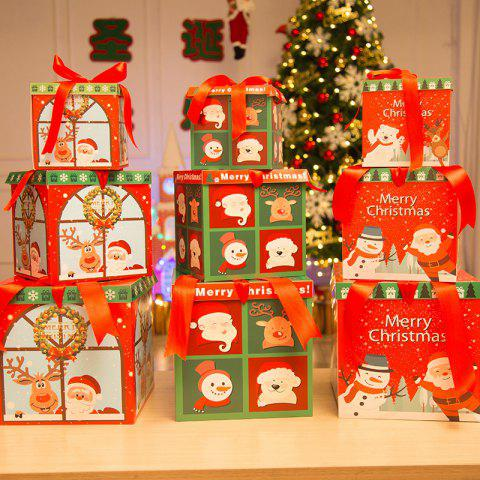 Christmas Paper Gift Box Three-Piece Gift Box Gift Package - multicolor A PACK OF 3