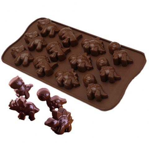 12 Cavity Dinosaur Silicone Cake Chocolate Candy Mould Cookies Baking DIY Mold - DEEP COFFEE
