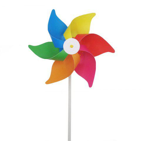 Hexagon Six Color Windmill Outdoor Toys for Children - multicolor
