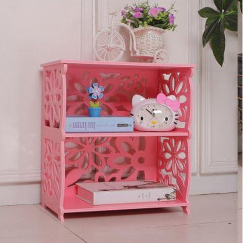 Nordic Style Cherry Blossom New Two-Story Bedside Table Storage Rack - LIGHT PINK