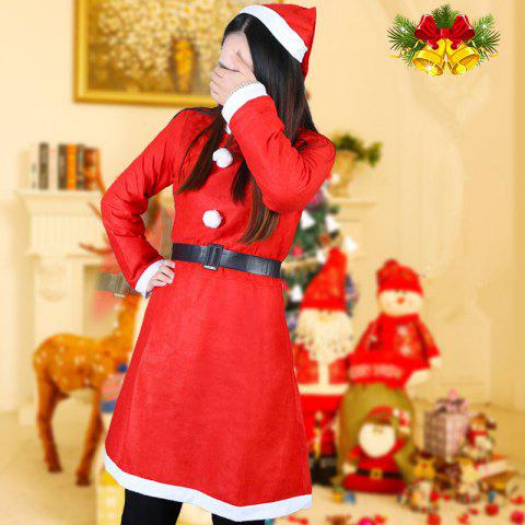 Adult Female Christmas Decoration Performance Clothing - RED 1 SET