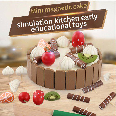 Wooden Invisible Magnetic Mini Cake Children'S Cut Music Simulation Toy - BROWN 1 SET