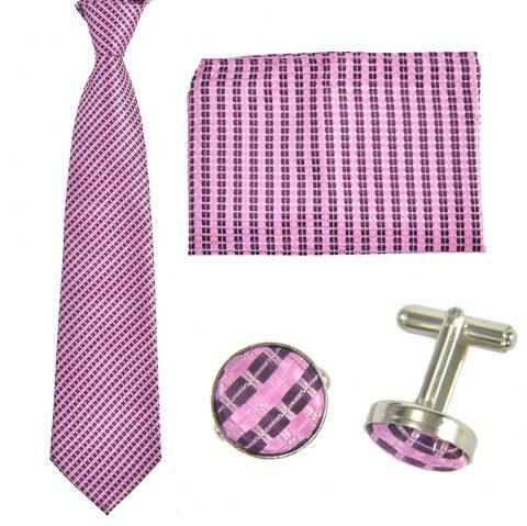 Fashion Business Necktie Mens Tie Cufflinks Pocket Towel 4PCS Set With the Box - PINK ROSE ONE SIZE