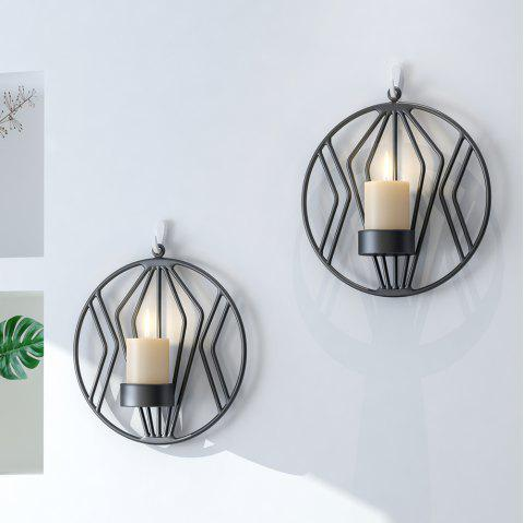 1Pc Round Candlestick Metal 3D Modern Style Wall Candle Holder Home Ornaments - BLACK