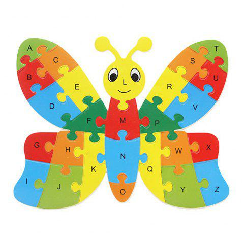 Early Education Puzzle Cartoon Animal Wooden 26 Letters Puzzle Board - multicolor D 1PC