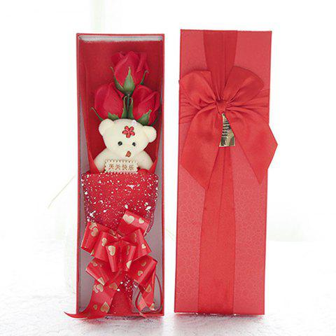 3 Rose Soap Flower Gift Box Valentine'S Day Gifts - RED 34*11*5.5CM
