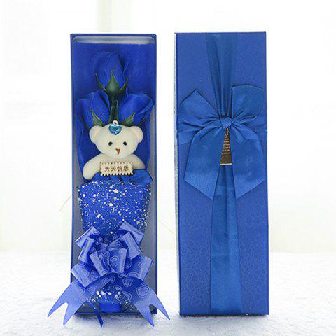 3 Rose Soap Flower Gift Box Valentine'S Day Gifts - BLUE 34*11*5.5CM