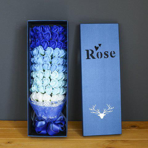 77 Rose Soap Bouquet Gift Box Valentine'S Day Gift - BLUE 58*19*11.5CM