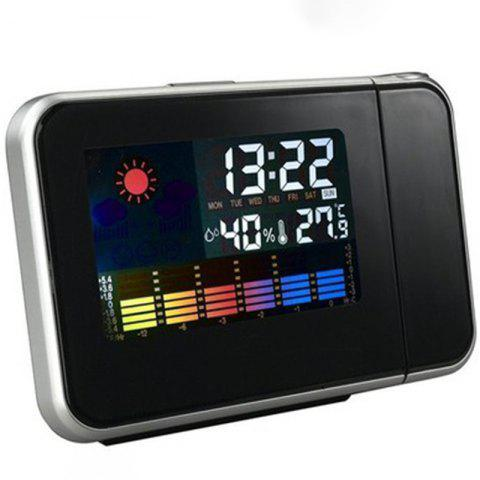 Fashion LED Color Screen Electronic Weather Forecast Projection Clock - BLACK