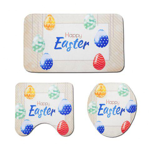 Easter Egg Print Toilet Mat Three-Piece - CHAMPAGNE 1 SET