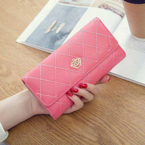 Linger Triple-Fold Crown Banknote Lady Holding Wallet and Bag - RED