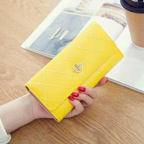 Linger Triple-Fold Crown Banknote Lady Holding Wallet and Bag - YELLOW