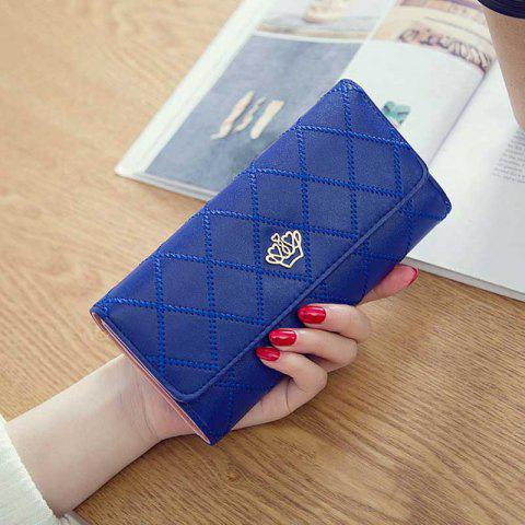 Linger Triple-Fold Crown Banknote Lady Holding Wallet and Bag - BLUE