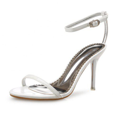 Open Toe High Heels Summer Simple Patent Leather Women'S Sandals - WHITE EU 34