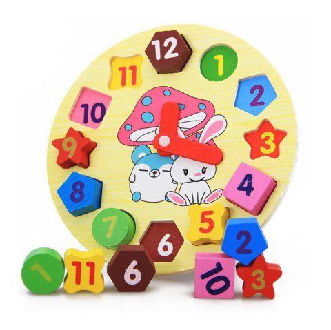 Wooden Puzzle Toys Wooden Digital Clock Jigsaw Toy Geometry Stacking Toys - multicolor A 1PC
