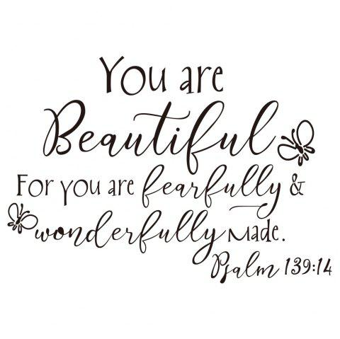 You Are Beautiful Butterfly Art Vinyl Mural Home Room Decor Wall Sticker - BLACK 17.8*25.4CM