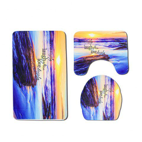Seaside Sunset Print Toilet Mat Three-Piece - SAFFRON 1 SET