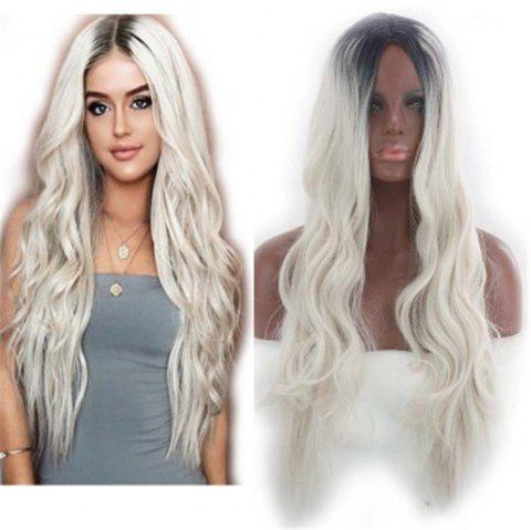 Europe and The United States in The Long Curly Hair Gradient Wig Headgear - PLATINUM 70 X 17 X 5CM
