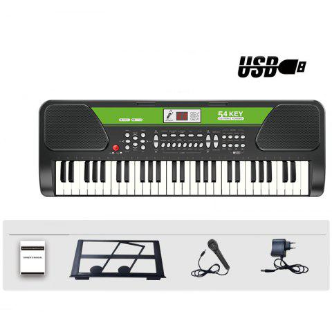 54 Keys Electronic Keyboard Piano with Mic Music-Stand Charger USB Input - BLACK S