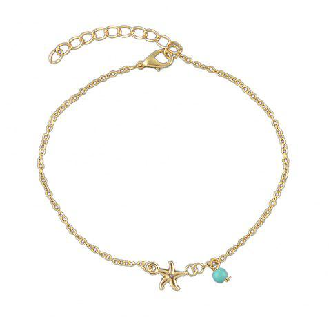 Bohemian Star Blue Beads Charm Anklets - multicolor A
