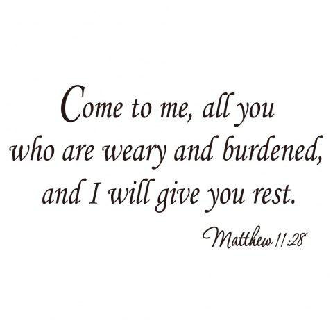 Come To Me All You Who Are Weary Art Apothegm Home Decal Wall Removable Sticker - BLACK 29.6*57CM