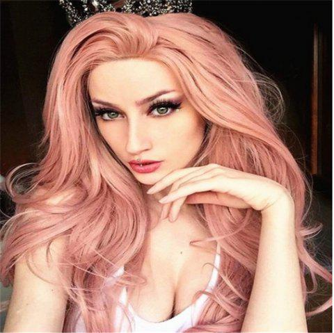 Pink Mid-Length Curly Wig Headgear - PINK 70 X 17 X 5CM