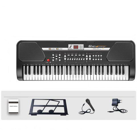 61 Keys Electronic Keyboard Piano Music Instrument with Micr LCD Adapter - BLACK S