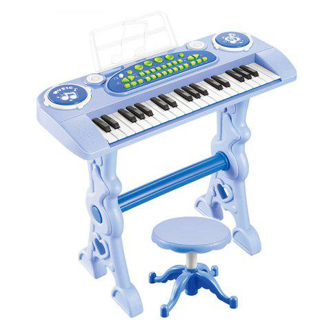 37 Keys Electronic Keyboard Piano with Mic Adapter Chair Blue - LIGHT BLUE REGULAR