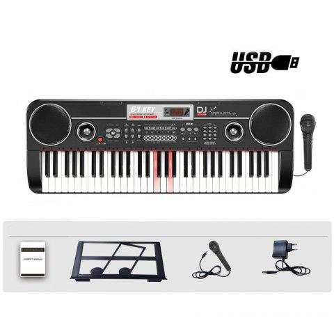 61 Keys Electronic Keyboard Piano with Mic Adapter LCD USB Input Light - BLACK OVERSIZE