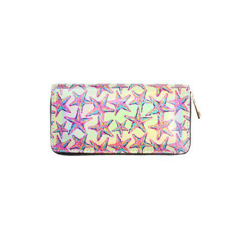 Shiny PU Women's Purse with Star Printing Long Ladies Zipper Wallet for Party - PINK ROSE