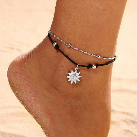 Double Layer Anklets Star Elephant Foot Bracelet for Women Boho Anklet - SILVER 1PC