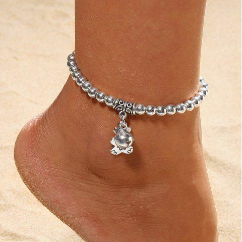 European and American Fashion Beaded Silver Plated Bell Anklet Foot Ornaments - SILVER 1PC