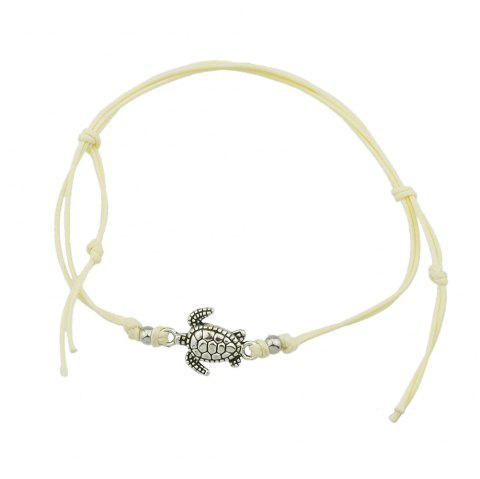 1 pc Beige Black Blue Rope with Turtle Anklets - multicolor A