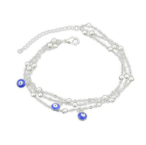 1 pc Gold Silver Color Chain With Eye Anklets - multicolor B