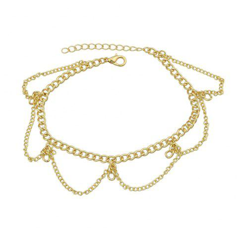 1 pc Gold Silver Color Chain With Geometric Anklets - multicolor A