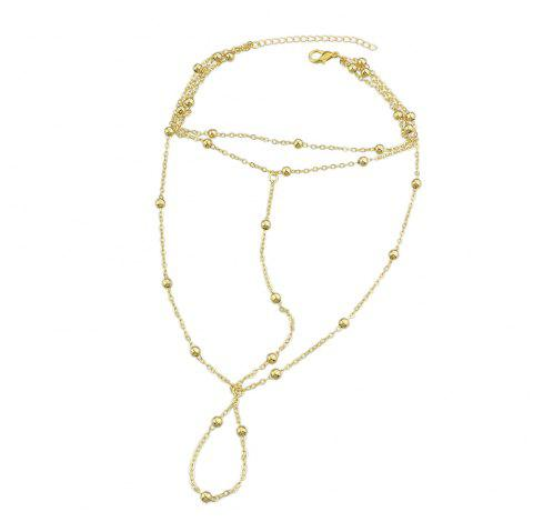 1 pc Gold Silver Color Chain With Beads Anklets - multicolor A