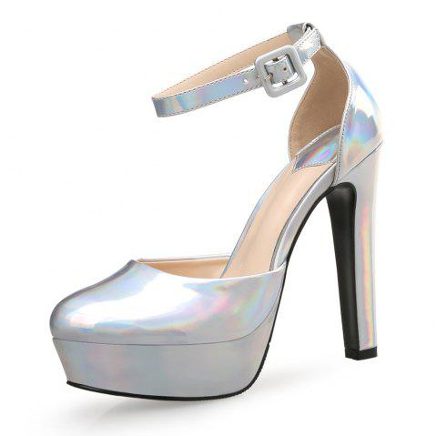 12CM Super High Heels Thick with Round Head Sexy Nightclub Shallow Mouth Women'S - SILVER EU 35