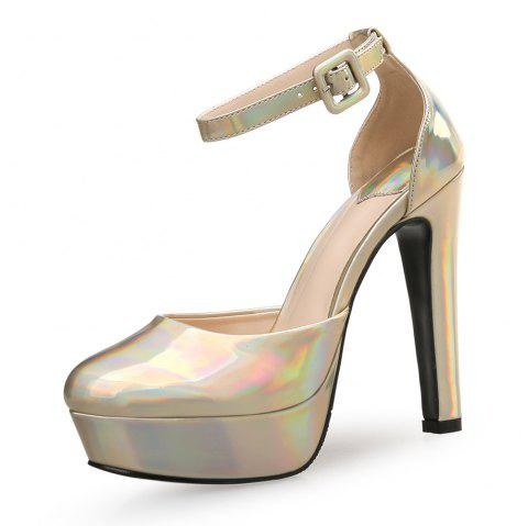 12CM Super High Heels Thick with Round Head Sexy Nightclub Shallow Mouth Women'S - GOLD EU 35