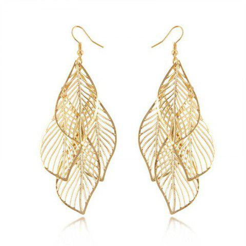 Fashion Lady's Hollowed-Out Leaf Fringed Eardrop - GOLD
